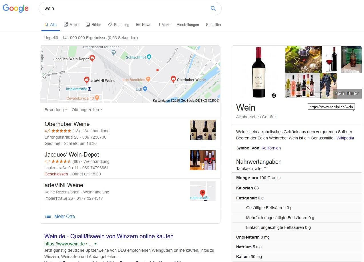 Wein - Keyword Optimierung Google